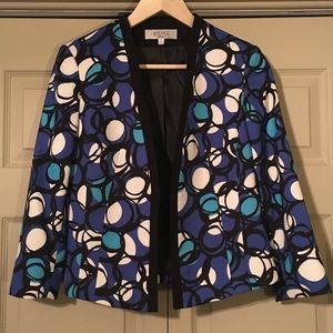 Kasper Womens Blue Black Open Front Jacket…